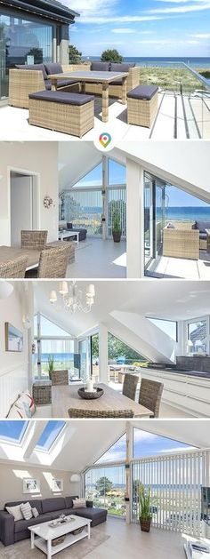 """Mit Meerblick: Ferienwohnung """"Weitblick"""" in Scharbeutz, direkt in erster Lage, m… With sea view: Apartment """"Weitblick"""" in Scharbeutz, directly in first location, with sea view over the bay of Lübeck. Hotel Breakfast, Hotel Door, Floating House, Camping, Architecture Design, Bamboo Architecture, Hotel Architecture, Entrance, Beach House"""