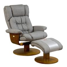 bonded taupe leather recliner and ottoman bernie and phyls