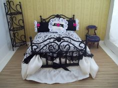 Dressed Dollhouse Bed by LittleAgain on Etsy, $40.00