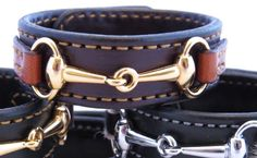 Bordeaux Chestnut Leather Gold Snaffle Horse Bit Equestrian Bracelet Handcrafted #Handmade #Equestrian