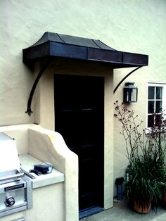 different color metal awning