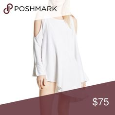 """Free People Clear Skies Cold Shoulder Tunic Dress Free People Clear Skies Cold Shoulder Tunic Dress in White  - Scoop neck - Long sleeves with cold shoulders and tie closure - Knit construction - Solid - Asymmetrical hem - Approx. 23"""" shortest length, 31"""" longest length - 99% rayon, 1% spandex Free People Dresses Asymmetrical"""