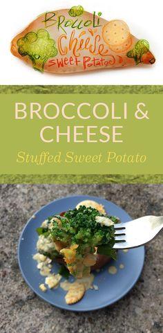 Broccoli and Cheese Stuffed Sweet Potato