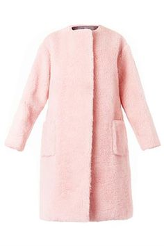 Rihanna's Fancy Coat Makes Jeans & Timberlands Night-Out Appropriate  #refinery29  http://www.refinery29.com/2014/10/76546/rihanna-pink-coat#slide2  It looks like fur, but it's actually boiled wool. Brilliant.