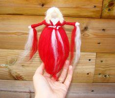 needle felted Halloween lady Red elf wool by elfkendalfairies
