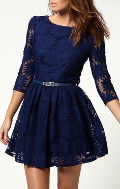 Navy Lace Skater Dress <3 just a little longer please!