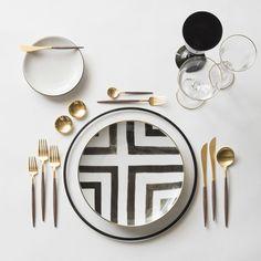Black Halo Charger + Heath Ceramics in Opaque + Christian LaCroix in Sol Y Sombra Dinnerware + Gold Salt Cellars + GOA in Gold & Wood Flatware + Chloe Gold Rimmed Stemware & Chloe Gold Rimmed Stemware in Black