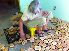 They Cover Their Old, Dirty Floor In Wooden Circles To Create A Unique And Beautiful Pattern remodel makeover renovation floor wood unique rustic BEAUTIFUL reclaimed fallen natural wood floor Natural Wood Flooring, Diy Flooring, Wooden Flooring, Cordwood Homes, Tree Trunks, Home Improvement, Make It Yourself, Design, Light Fixtures
