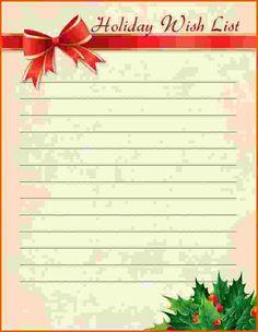 christmas list template word
