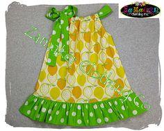Pillowcase Dresses - LEMON n' LIME - Pillowcase Dress in Sizes 3, 6, 9, 12, 18, 24 month, 2, 2t, 3t, 3, 4, 4t, 5, 6, 7, 8. $31.50, via Etsy.