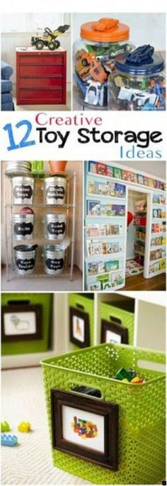 Creative toy storage and organization ideas. Great options to store and organize all your toys, books and other kiddie clutter. Creative toy storage and organization ideas. Great options to store and organize all your toys, books and other kiddie clutter. Creative Toy Storage, Diy Toy Storage, Kids Room Organization, Playroom Organization, Kids Storage, Storage Ideas, Playroom Ideas, Smart Storage, Storage Solutions