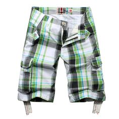 Mens Plaid Loose Fit Cotton Cargo Short Pants