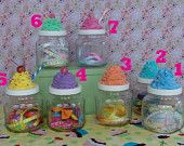 Fake Cupcake Topped Jars - Set of 2 (19 ounce jars) see details to add your a name. $22.95, via Etsy.