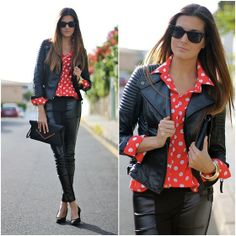 Dots and leather (by Marianela Yanes) http://lookbook.nu/look/4574635-Dots-and-leather  http://marilynsclosetblog.blogspot.com.es/2013/02/dots-and-leather.html