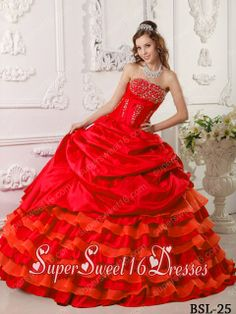 Red Ruffled Layers Ball Gown Strapless Taffeta Beading 2014 Quinceanera Dress