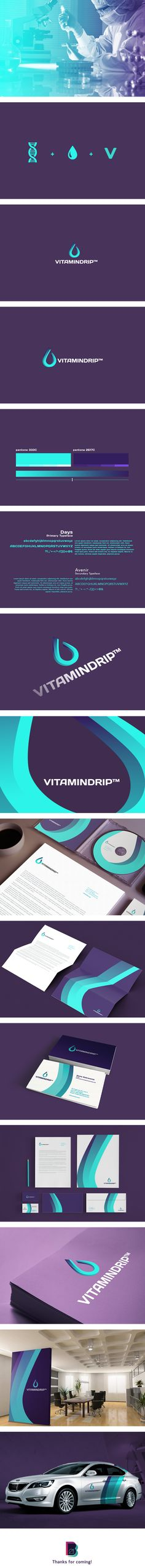 Vitamindrip by B21 Branding Studio, via Behance, branding, graphic design, droplet, shape, colour, concept