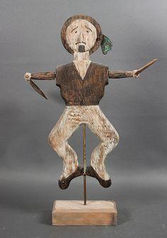 American folk art painted wood and metal sailor whirligig