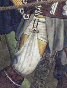 Artist: Giacomo Jaquerio From: Abbazia di Sant'Antonio di Ranverso, Buttigliera Alta, Italy Dating: Men's undies, stockings or boot liners held up with toggle and loop. Renaissance Costume, Medieval Costume, Renaissance Clothing, Renaissance Fashion, Medieval Dress, 15th Century Fashion, 14th Century Clothing, 16th Century, Medieval Life