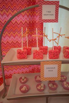 Girl Dinosaur Birthday Party from Honeybash treat labels;  http://www.etsy.com/shop/honeybash