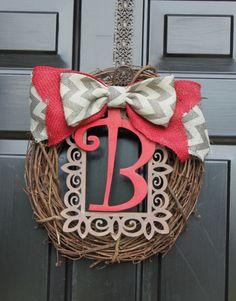 Spring Wreath - Summer Wreaths for door - Burlap wreath - Monogram Wreath - Summer Wreath - Door Wreath - Wreath for Door - Country Cottage