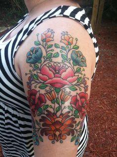 tattoo- Folk art flowers - Love it! Kunst Tattoos, Body Art Tattoos, Tatoos, Nerd Tattoos, First Tattoo, Tattoo You, Unique Tattoos, Beautiful Tattoos, Hungarian Tattoo