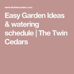 Easy Garden Ideas & watering schedule | The Twin Cedars