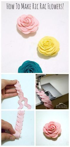 Sewing Fabric Flowers How To Make Ric Rac Flowers Sewing Hacks, Sewing Tutorials, Sewing Patterns, Craft Tutorials, Sewing Ideas, Tutorial Sewing, Sewing Tips, Fabric Flowers, Paper Flowers