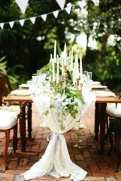 southern weddings hayley paige vine and light styled editorial shoot table ivy candles overflow Wedding Dj, Wedding Themes, Garden Wedding, Wedding Ceremony, Dream Wedding, Reception, Wedding Ideas, Wedding Table Centerpieces, Wedding Decorations