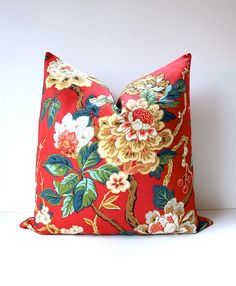 """Modern Olive Green coral red Decorative Designer Pillow Cover 18"""" Accent blossoms oriental floral chinoiserie gold Valentine's Day holiday"""