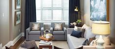 Drapes and Shutters combined accentuate the color palette and design of a room.