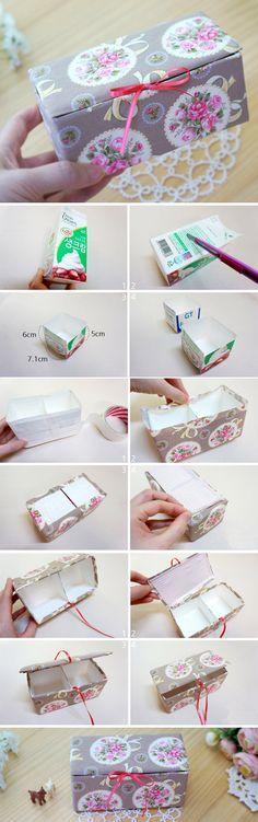 DIY Upcycled Milk Carton Storage Box Tutorial in Pictures. www.handmadiya.co...