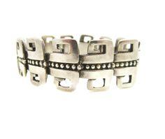 Margot de Taxco Sterling Bracelet Mexican Silver Bracelet Greek Key Heavy Sterling Vintage Jewelry by LadyandLibrarian on Etsy https://www.etsy.com/listing/228181089/margot-de-taxco-sterling-bracelet
