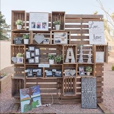 This unique piece is perfect for an entry way fr your wedding or party in Las Vegas. BloomingBelles Rentals will come and set the wall up and you can decorate it however you would like. Pallet and crates combined for a rustic look Pallet Wedding, Outdoor Wedding Reception, Wedding Reception Decorations, Wedding Decor, Wedding Ideas, Wedding Picture Walls, Wedding Wall, Wedding Signs, Pallet Picture Display