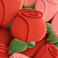 Decorated Rose Bud Cookie with common cookie cutters