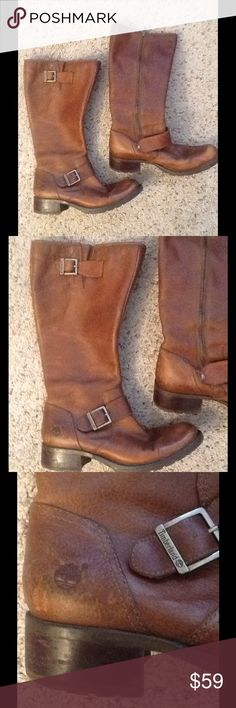 TIMBERLAND TALL BROWN BELTED LEATHER RIDING BOOTS Timberland sz 9 tall belted brown leather riding boots.  Excellent condition, perfect patina, gives them character.  Great boots!  Will ship right away.  Check out my other designer items Timberland Shoes Combat & Moto Boots