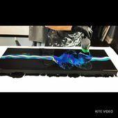 – Dutch Pour – watch how these paints shimmer & glow! Massive Dutch pour using metallic and iridescent paint. Glow, Epoxy, Dutch, 3d, Painting, Ideas, Light Fixtures, Dutch People, Paintings