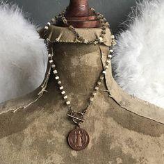 Vintage St. Benedict medal assemblage necklace ooak by Alpha Female Studio