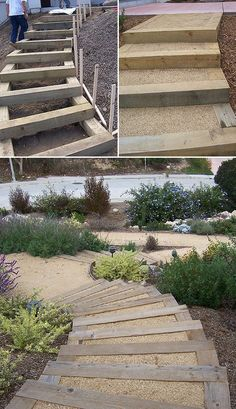 DIY Garden Steps & Stairs • Lots of ideas, tips & tutorials! Including, from '2 minute gardener', this great tutorial on making landscape timber stairs.