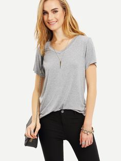8.99$  Watch here - http://di5hc.justgood.pw/go.php?t=2237 - Grey V Neck Casual T-shirt 8.99$