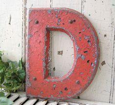 vintage industrial metal letters, letter D, sign letter, other letters available. $30.00, via Etsy.