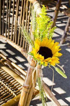 Simple sunflower chair decoration