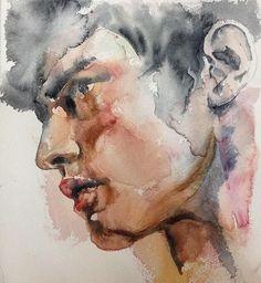 Watercolor Portrait Tutorial, Watercolor Portrait Painting, Watercolor Face, Watercolor Images, Watercolor Canvas, Watercolor Fashion, Watercolor Sketch, Oil Painting Abstract, Portrait Art