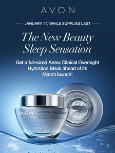 TODAY ONLY! Add a boost to your beauty sleep! I love how the Anew Clinical Overnight Hydration Mask instantly boosts moisture & is so lightweight. Get yours today before the March launch, while supplies last! #AvonRep