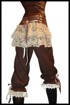 Incase you're not a big skirt/ dress fan, these pants with white lace styled in steampunk are my choice!