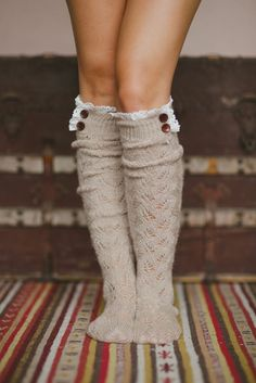 Hand-knitted lace boot socks, stretchy mohair blend yarn trimmed with lace and…