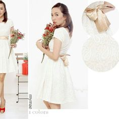 White-Gold Lacey Dress Matterial : Premium Lace + Furing Colour : White IDR 230000
