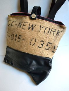 Coffee Bean Bag Tote with Leather - Large Burlap upcycled Tote Bag - New York. $48.00, via Etsy.