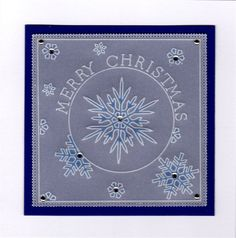 Snowflake, nested square and circle plates Groovi card created by Margaret Atkinson