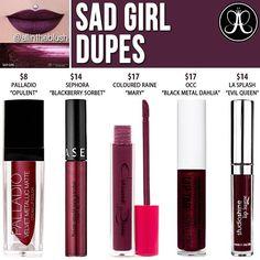 "ANASTASIA BEVERLY HILLS ⇢ LIQUID LIPSTICK ⇢ SAD GIRL ⇢ sad girl dupes⇢ la splash's ""evil queen"" is no longer available for purchase"