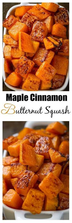 Maple Cinnamon Roasted Butternut Squash makes an easy, healthy & delicious side dish perfect for Thanksgiving, Christmas, Easter or any holiday gathering.(Vegetable Recipes For Easter) Side Dish Recipes, Vegetable Recipes, Vegetarian Recipes, Cooking Recipes, Healthy Recipes, Recipes Dinner, Chicken Recipes, Pasta Recipes, Breakfast Recipes